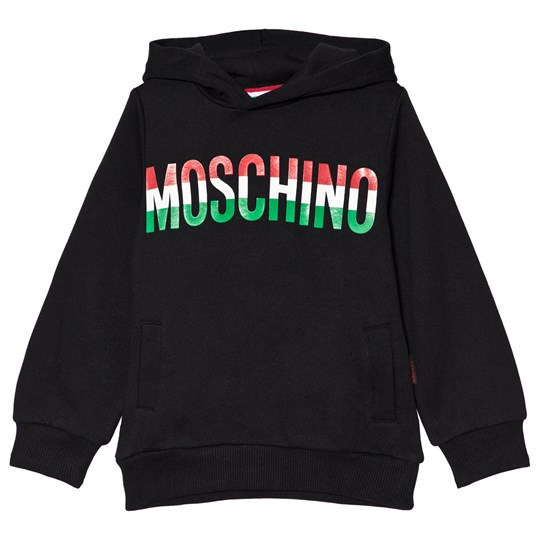 Moschino Kid-Teen Black Italy Flag Print Branded Hoodie 60100