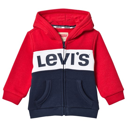 Levis Kids Red and Navy Logo Colour Block Hoody 36