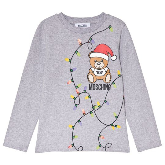 Moschino Kid-Teen Grey Christmas Bear Print Long Sleeve Tee 60901