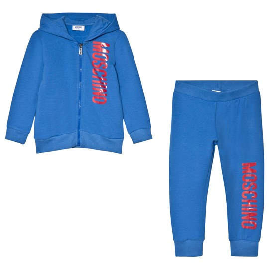 Moschino Kid-Teen Blue and Red Branded Tracksuit 40931
