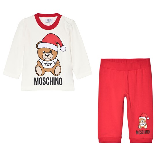 Moschino Kid-Teen Cream and Red Christmas Bear Tee and Bottoms Set 83979
