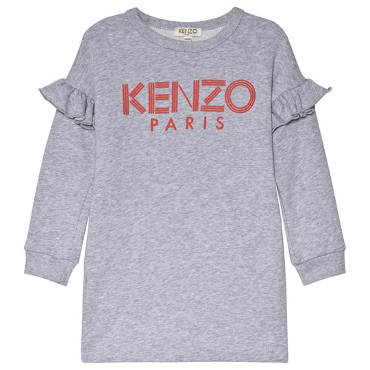 Kenzo Grey Logo Frill Sleeve Sweat Dress 25