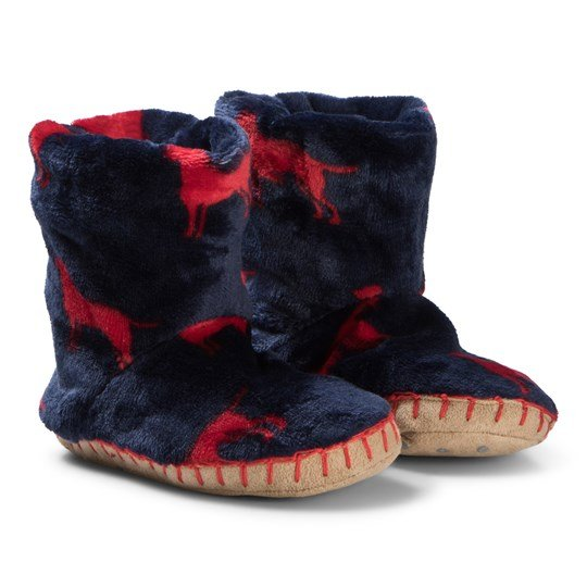 Hatley Red Labs Fleece Slippers Marinblå