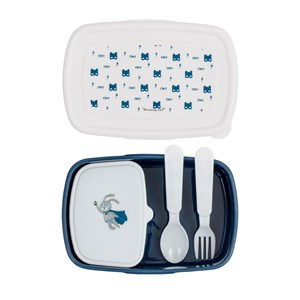 Image of Bloomingville Blue Superhero Lunch Box with Cutlery (3056086817)