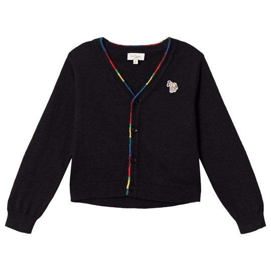 Paul Smith Junior Black Zebra Badge Cardigan with Multi Trim and Elbow Patch Detail Black
