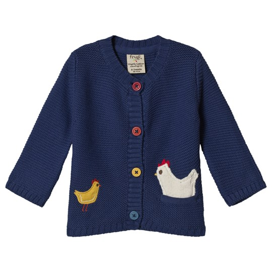Frugi Cuddly Knitted Cardigan True Blue/Chicken True Blue/Chickens_AW18