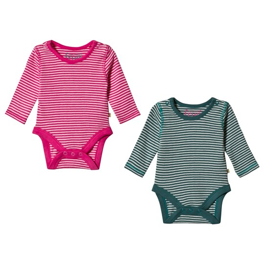 Frugi 2-Pack Breton Baby Bodies Pink/Green Pointelle Multipack_AW18