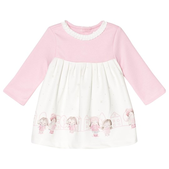 Mayoral Pink and Cream Town Scene Frill Collar Dress 54