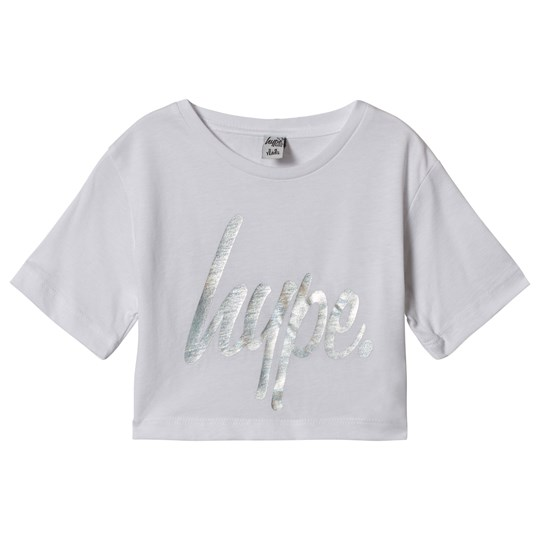 Hype White Iridescent Cropped Tee White/multi