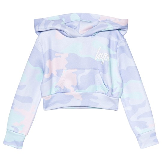 Hype Multi Camo Cropped Hoodie Lilac/Mint