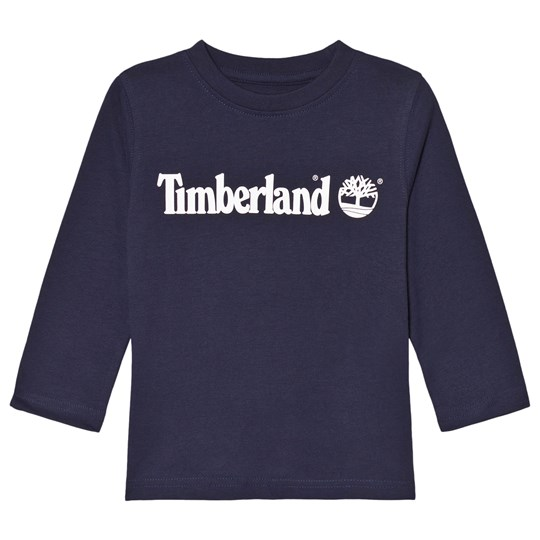Timberland Navy Branded Long Sleeve Tee 85T