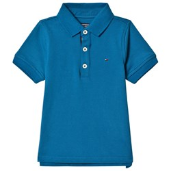 Tommy Hilfiger Blue Pique Polo with Flag Logo