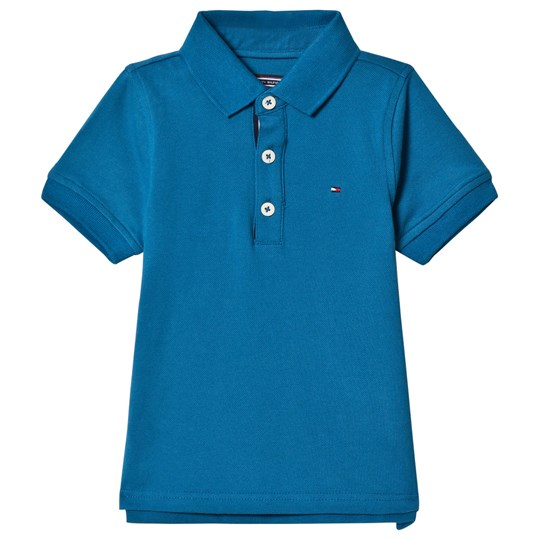 Tommy Hilfiger Blue Pique Polo with Flag Logo 401