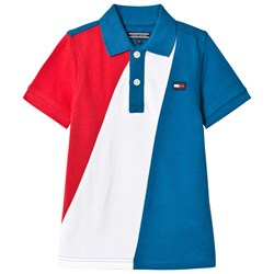 Tommy Hilfiger Blue and Red Geometric Polo
