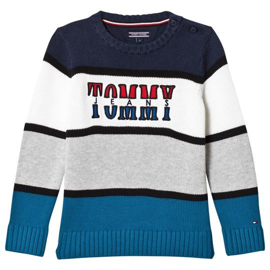 Tommy Hilfiger Navy, Grey and White Branded Knit Sweater 401
