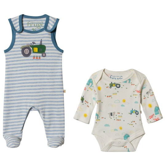 Frugi My First Outfit in Blue Marl Striped Tractor Blue Marl Stripe/Tractor_AW18
