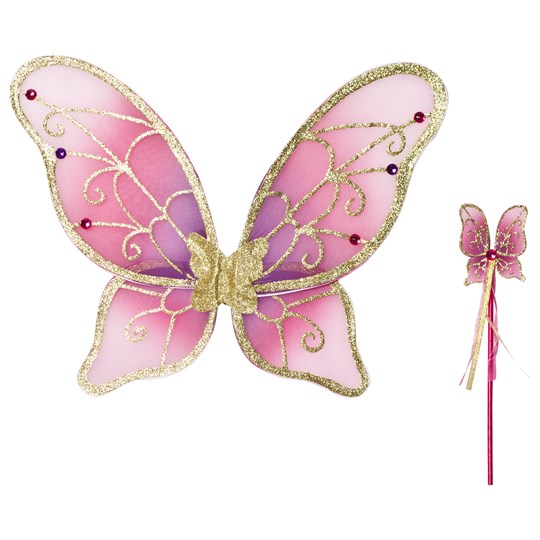 Travis Pink and Gold Fairy Wings and Wand Set Cerise, gold, pink