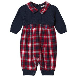 Image of Dr Kid Navy Knitted & Tartan One-Piece 1 month (3057462817)