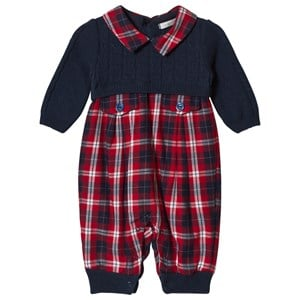 Image of Dr Kid Navy Knitted & Tartan One-Piece 1 month (1155220)