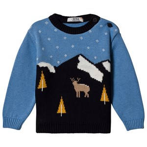 Image of Dr Kid Blue & Navy Deer Scene Knitted Jumper 3 mdr (1155361)