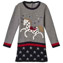 Dr Kid Grey & Navy Knitted Unicorn Dress