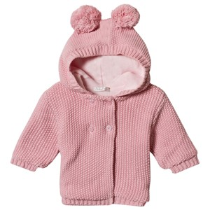 Image of Dr Kid Pink Knitted Hooded Pom Pom Ears Cardigan 1 month (1155034)