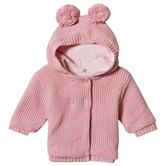 Dr Kid Pink Knitted Hooded Pom Pom Ears Cardigan 240