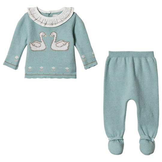 Dr Kid Blue Knitted Swan & Embroidered Collar 2 Piece Set 652