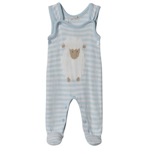 Image of Dr Kid Blue Knitted Stripe & Sheep Footed One-Piece 1 month (3057462711)