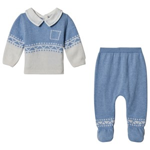 Image of Dr Kid Blue Knitted Pattern 2 Piece Set 1 month (3057462733)