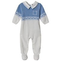 4c7c3e7bbfae Dr Kid White & Blue Patterned Knitted Collared Babygrow 108
