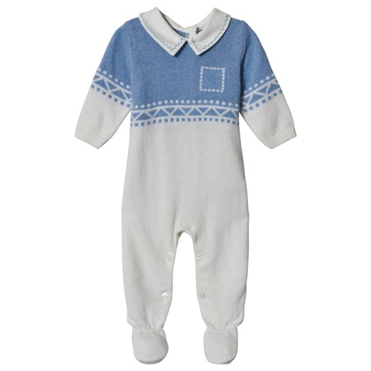 Dr Kid White & Blue Patterned Knitted Collared Babygrow 108