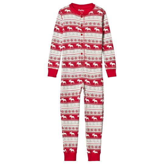 Hatley Red and Grey Fair Moose One-Piece GREY AND RED