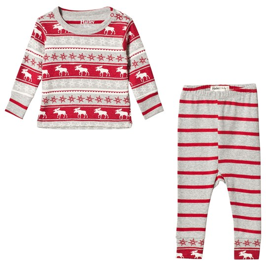 Hatley Red and Grey Moose Organic Cotton Pyjama Set GREY AND RED