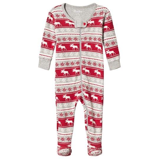 Hatley Red and Grey Moose Footed Baby Body GREY AND RED