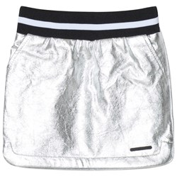 DKNY Silver Pleather Skirt with Logo Patch