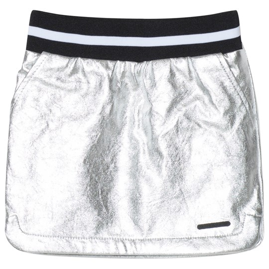 DKNY Silver Pleather Skirt with Logo Patch 16