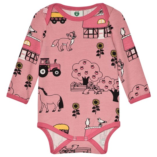 Småfolk Pink Farm Print Baby Body Blush