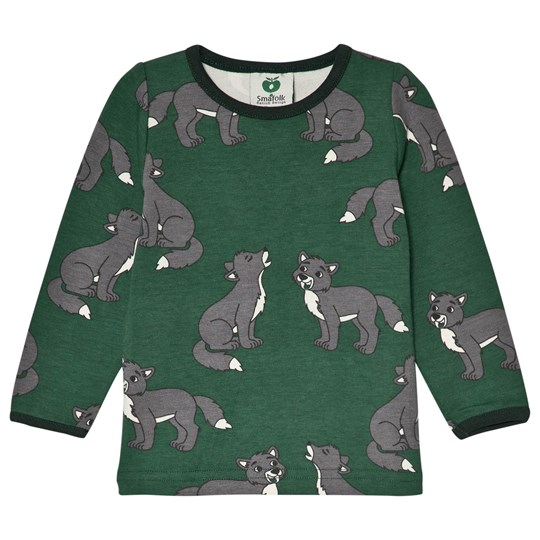 Småfolk Green Wolf Print Tee Hunter Green