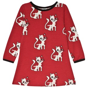 Image of Småfolk Red Cat Print Dress 2-3 år (3057461249)
