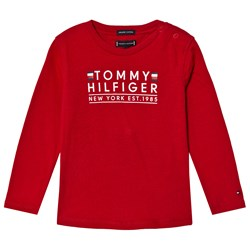 Tommy Hilfiger Red Branded Essential Long Sleeve Tee