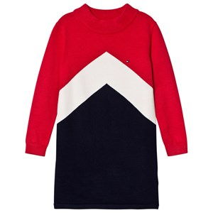 Image of Tommy Hilfiger Red Colourblock Chevron Sweater Dress 6 years (3057462255)