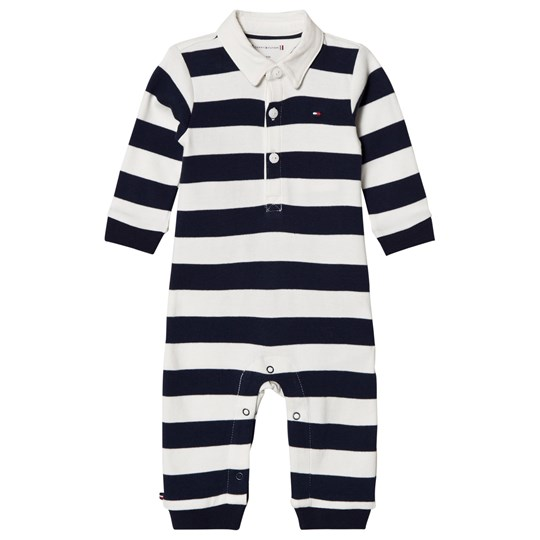 Tommy Hilfiger Navy Stripe Branded Rugby Footless One-Piece 002
