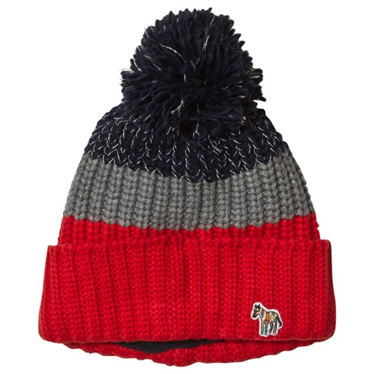 Paul Smith Junior Navy, Red and Grey Reflective Pom-Pom Beanie Red