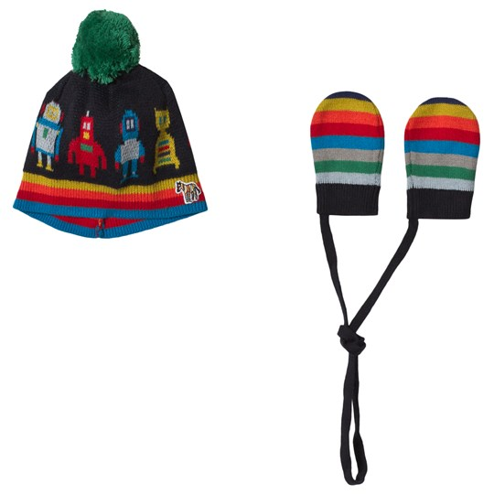 Paul Smith Junior Multi Robot Print and Stripe Pom Pom Beanie and Mittens Set Multi
