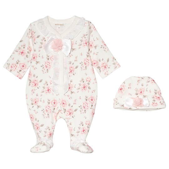 Mintini Baby Pink Floral Pattern Footed Baby Body and Hat Set Floral