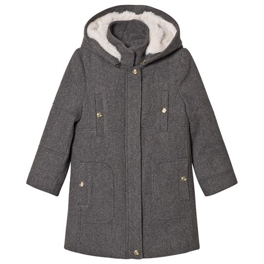Chloé Grey Broadcloths Hooded Coat A38
