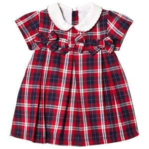Image of Dr Kid Red Tartan Bow & Embroidered Collar Dress 9 months (1155090)
