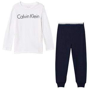 Image of Calvin Klein White & Navy Branded Pajama Set 10-12 years (3057830671)