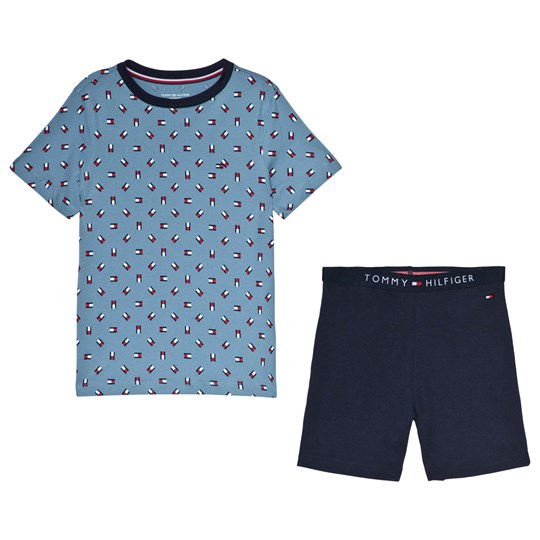 Tommy Hilfiger Blue Flag Print and Shorts Pajama Set 057